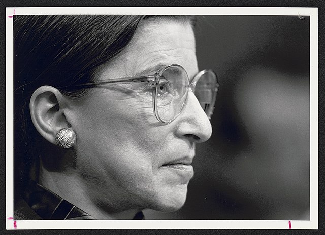 Ruth Bader Ginsburg at Senate confirmation hearing for her appointment to the Supreme Court.