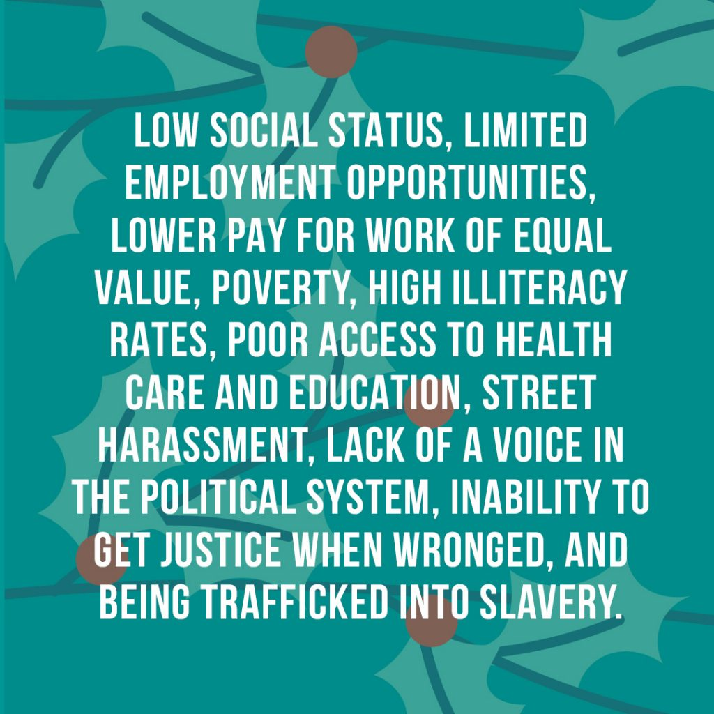 Low social status, limited employment opportunities, lower pay for work of equal value, poverty, high illiteracy rates, poor access to health care and education, street harassment, lack of a voice in the political system, inability to get justice when wronged, and being trafficked into slavery.