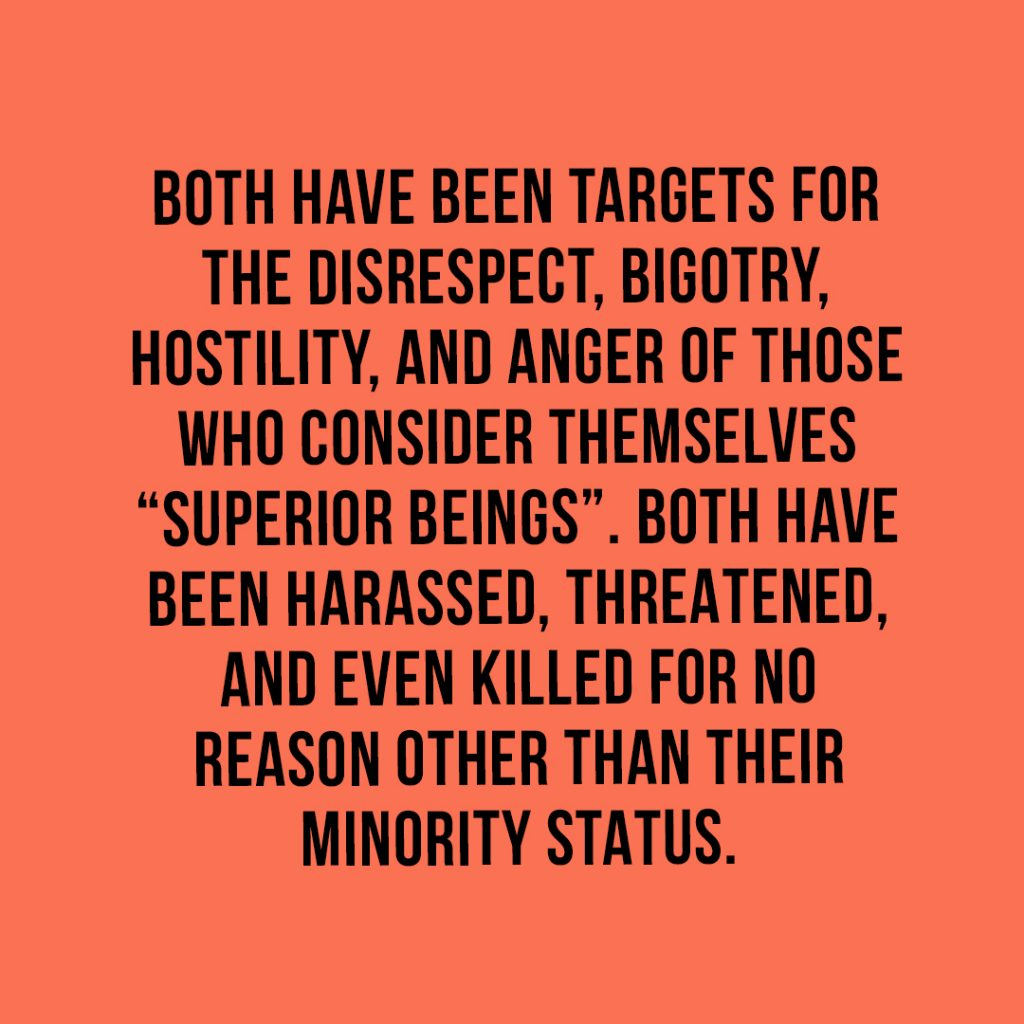 "Both women and minorities have been targets for the disrespect, bigotry, hostility, and anger of those who consider themselves ""superior beings"". Both have been harassed, threatened, and even killed for no reason other than their minority status."